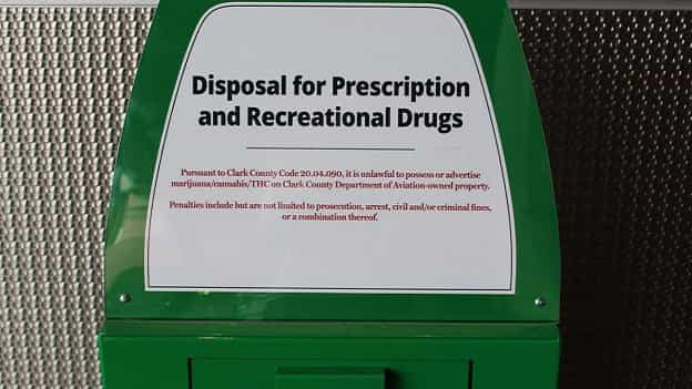 Marijuana or Drug Collection Boxes Setup At Entrances of Las Vegas Airports