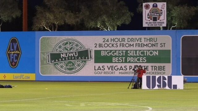 Cannabis Advertisement Up at Cashman Field for Las Vegas Lights Soccer Games
